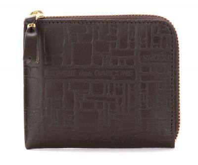 Bustina Wallet Comme Des Garçons in pelle stampata marrone