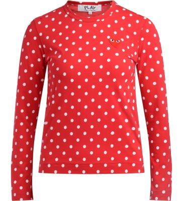 T-shirt Comme Des Garçons Play rossa a pois bianchi