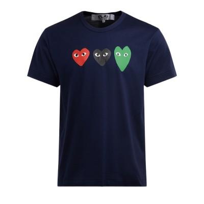 T-Shirt Comme Des Garçons PLAY in cotone blu con cuori multicolor