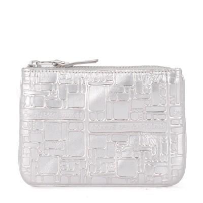 Bustina Comme des Garçons Wallet in pelle argento stampata