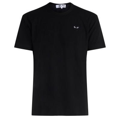 T-shirt uomo Comme des Garçons Play nera con cuore tono su tono