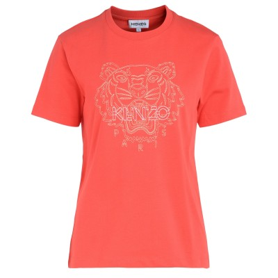 T-shirt over Kenzo Tiger color lampone
