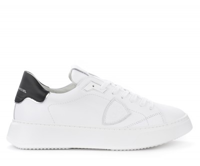 Sneaker Philippe Model Temple L in pelle bianca con spoiler nero