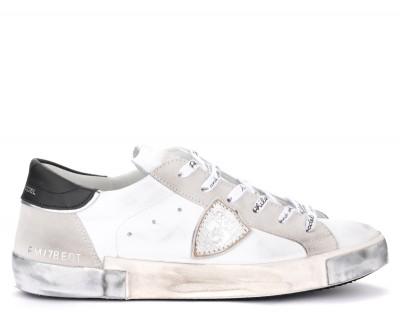 Sneaker Philippe Model Paris X in pelle e camoscio bianchi