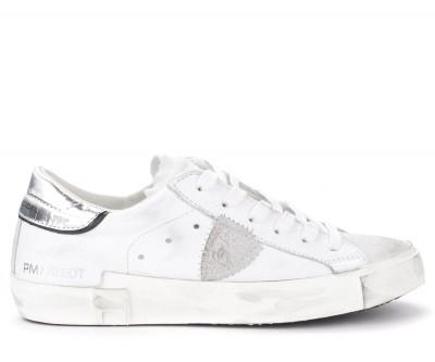Sneaker Philippe Model Paris X in pelle bianca con spoiler argento