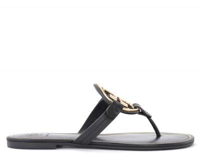 Sandalo Tory Burch Miller in pelle nera con logo dorato