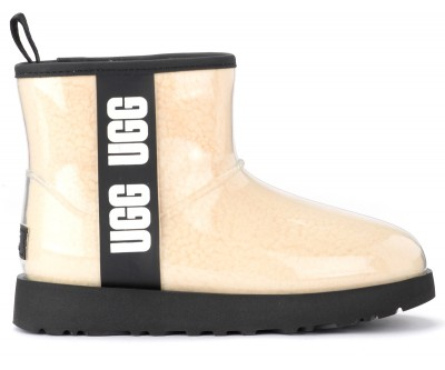 Tronchetto UGG Classic Clear Mini in lana color panna