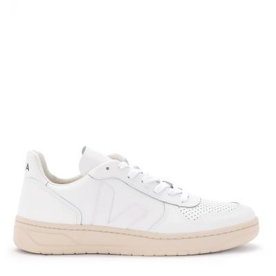 Sneaker Veja V-10 da donna in pelle bianca con logo