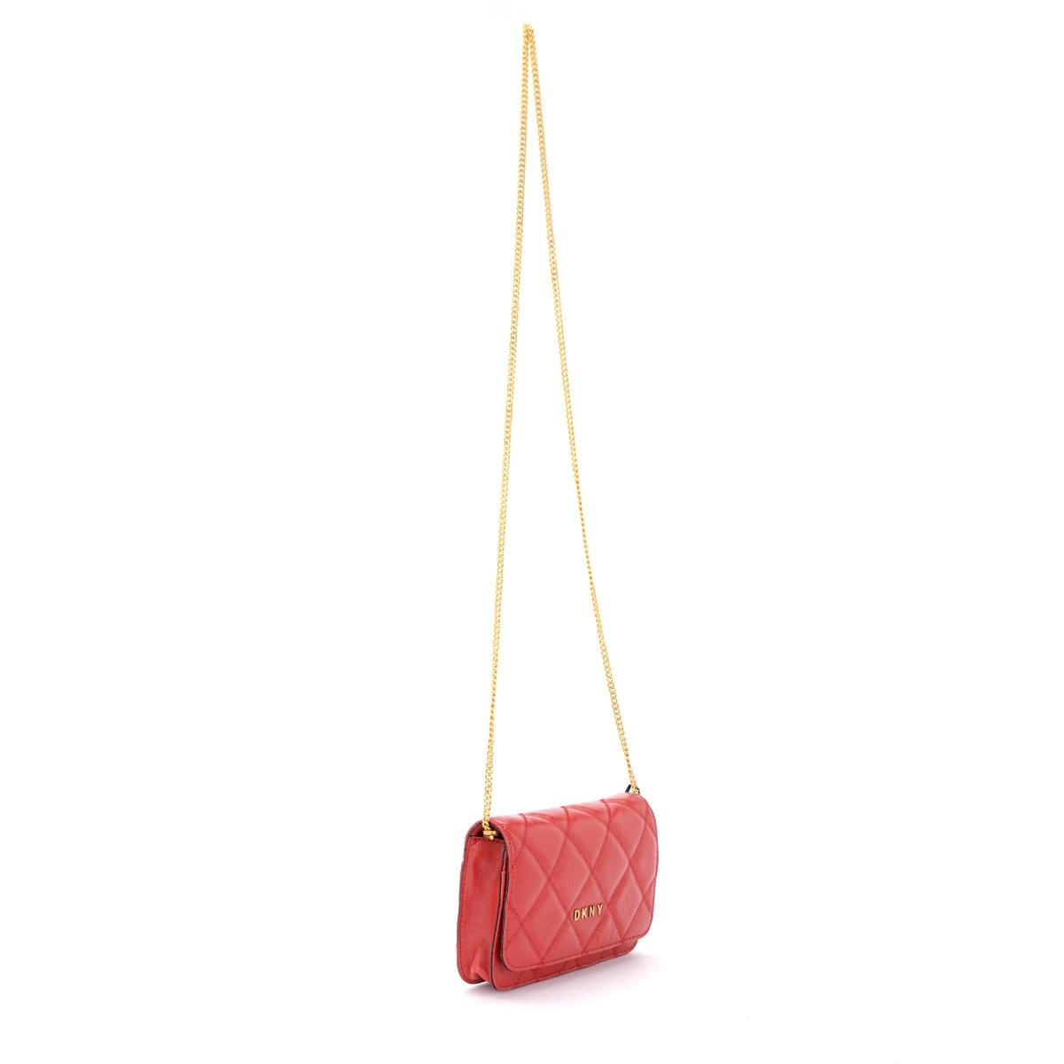 Dettagli su Borsa a tracolla DKNY Sofia in pelle rossa trapuntata