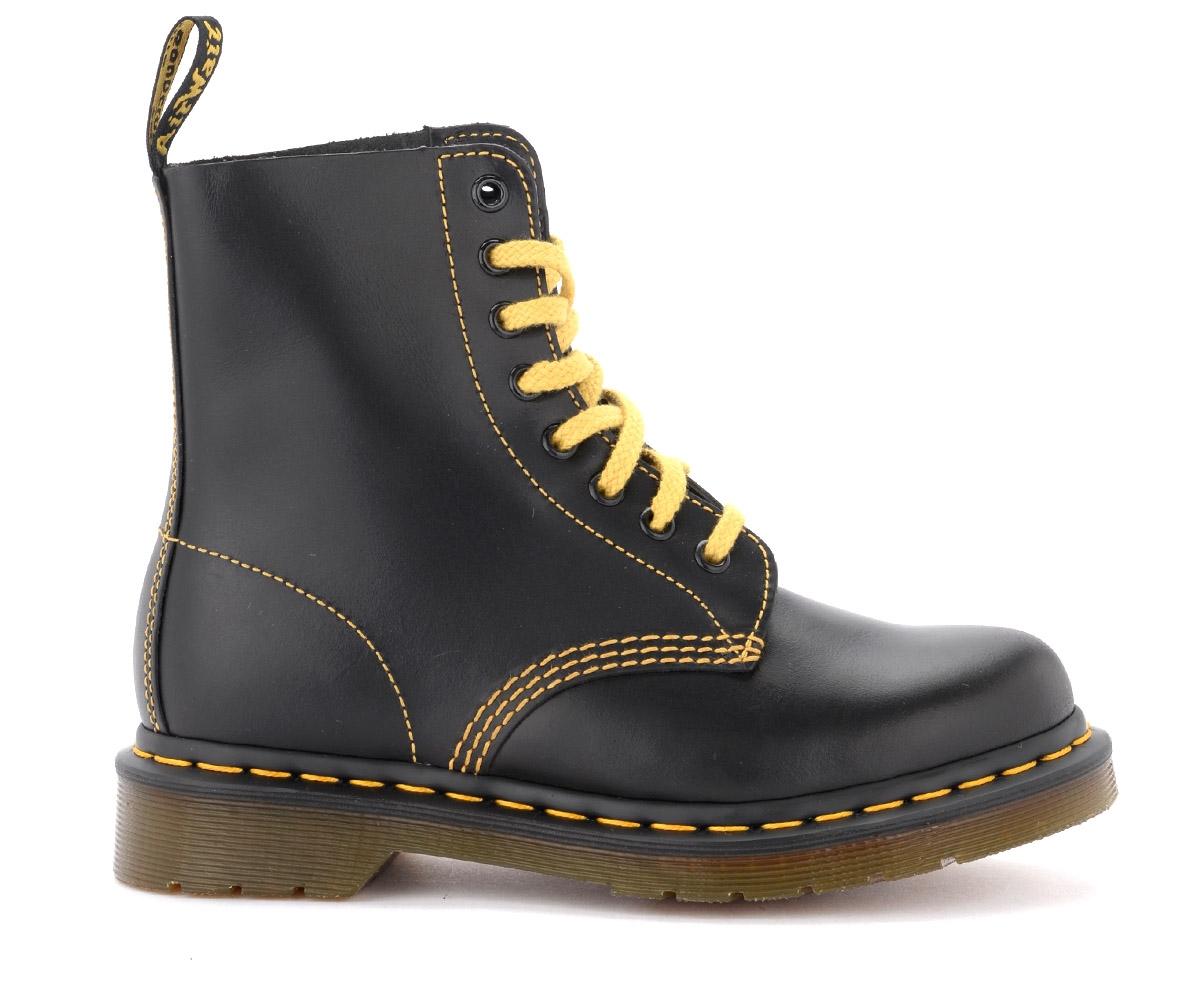 Boots Dr Martens Pascal en cuir noir avec coutures jaunes - Dr. Martens - Modalova