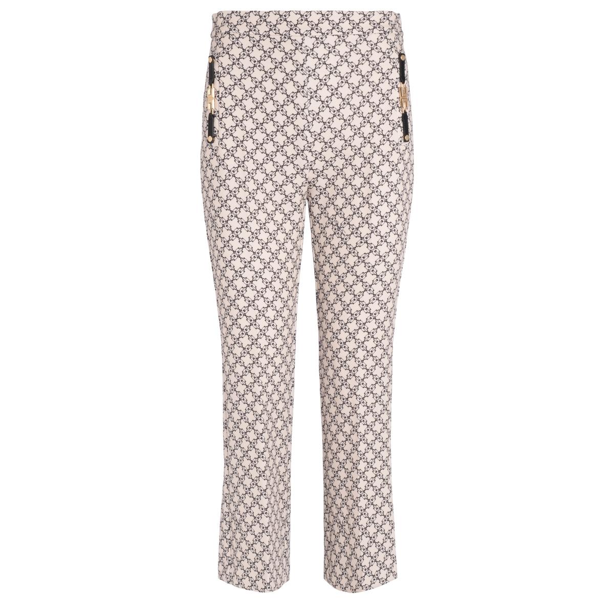 Pantalone color burro stampa micro lucchetti - ELISABETTA FRANCHI - Modalova