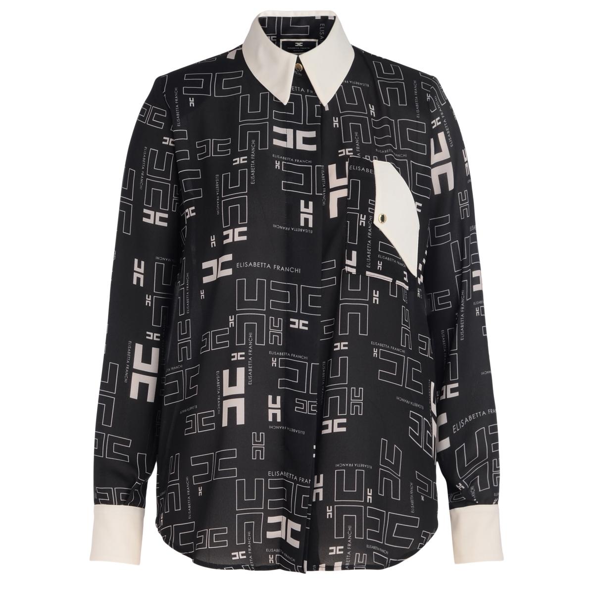 Camicia nera con stampa logo bicolor - ELISABETTA FRANCHI - Modalova