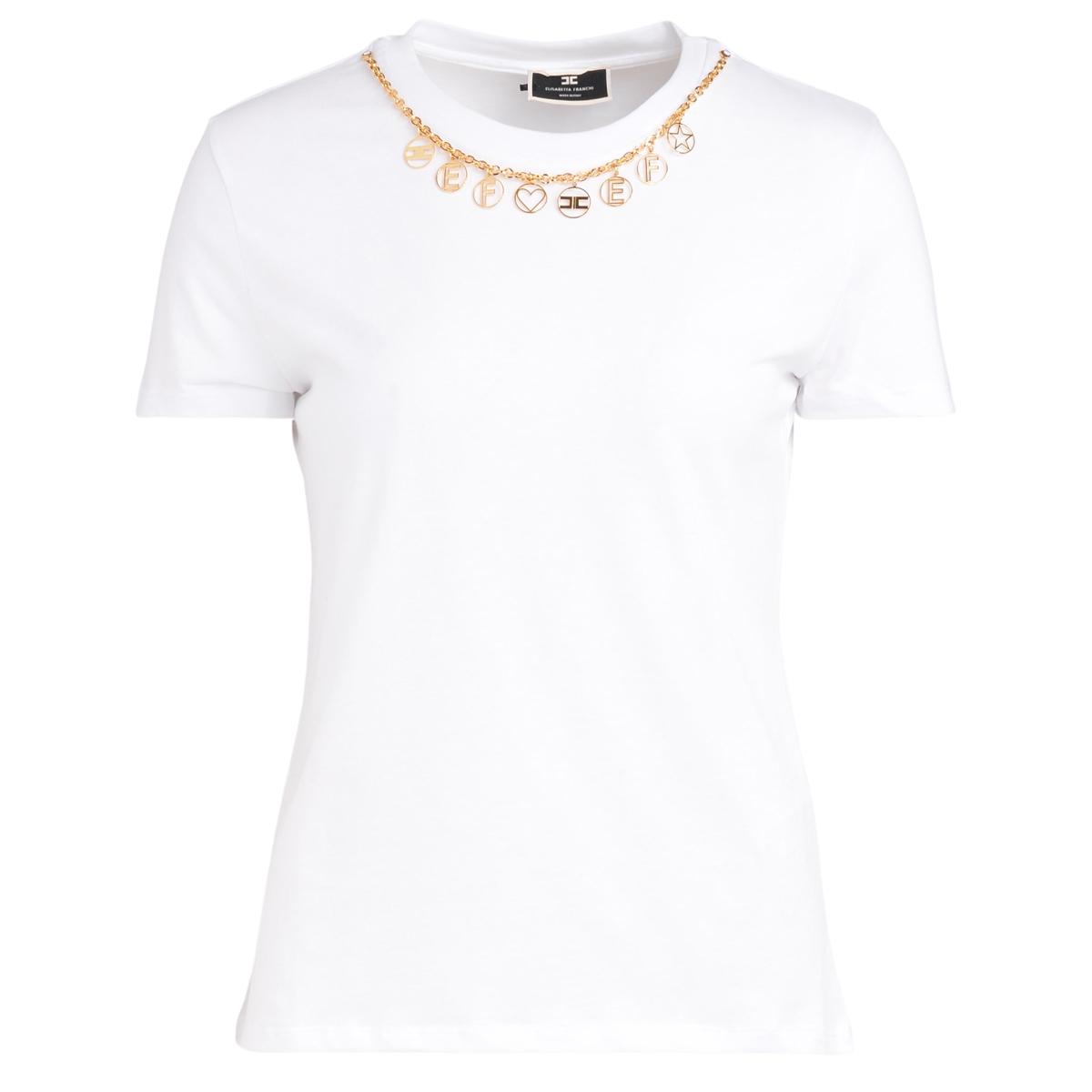 T-shirt bianca con collana removibile - ELISABETTA FRANCHI - Modalova