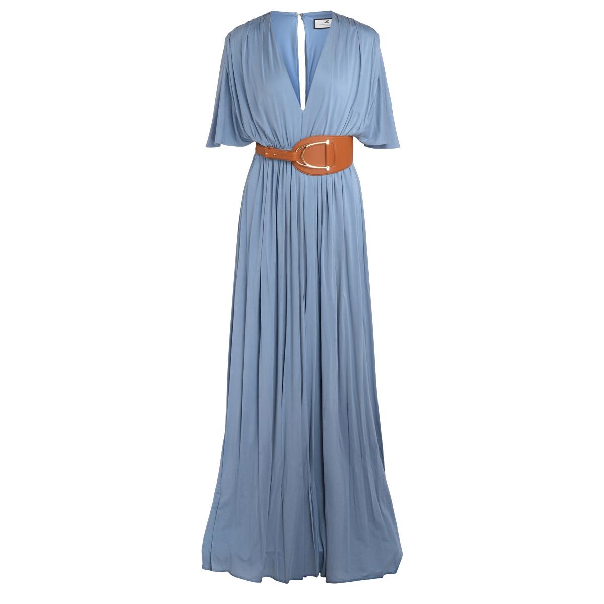 Abito red carpet azzurro con maxi cintura - ELISABETTA FRANCHI - Modalova