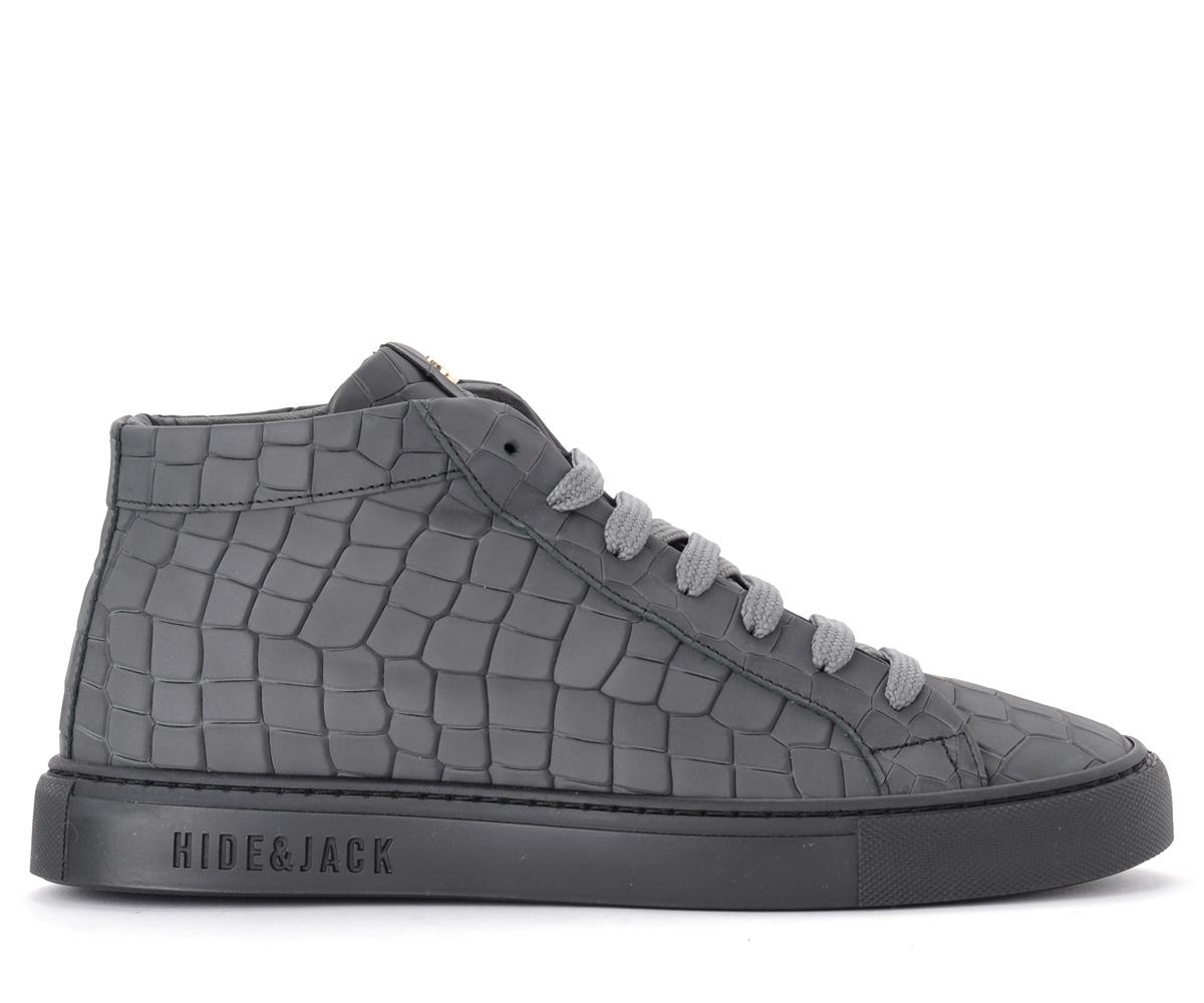 Baskets hautes Croco en cuir gris - Hide&Jack - Modalova