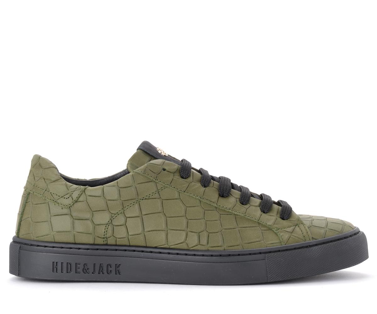 Baskets Croco en cuir vert militaire - Hide&Jack - Modalova