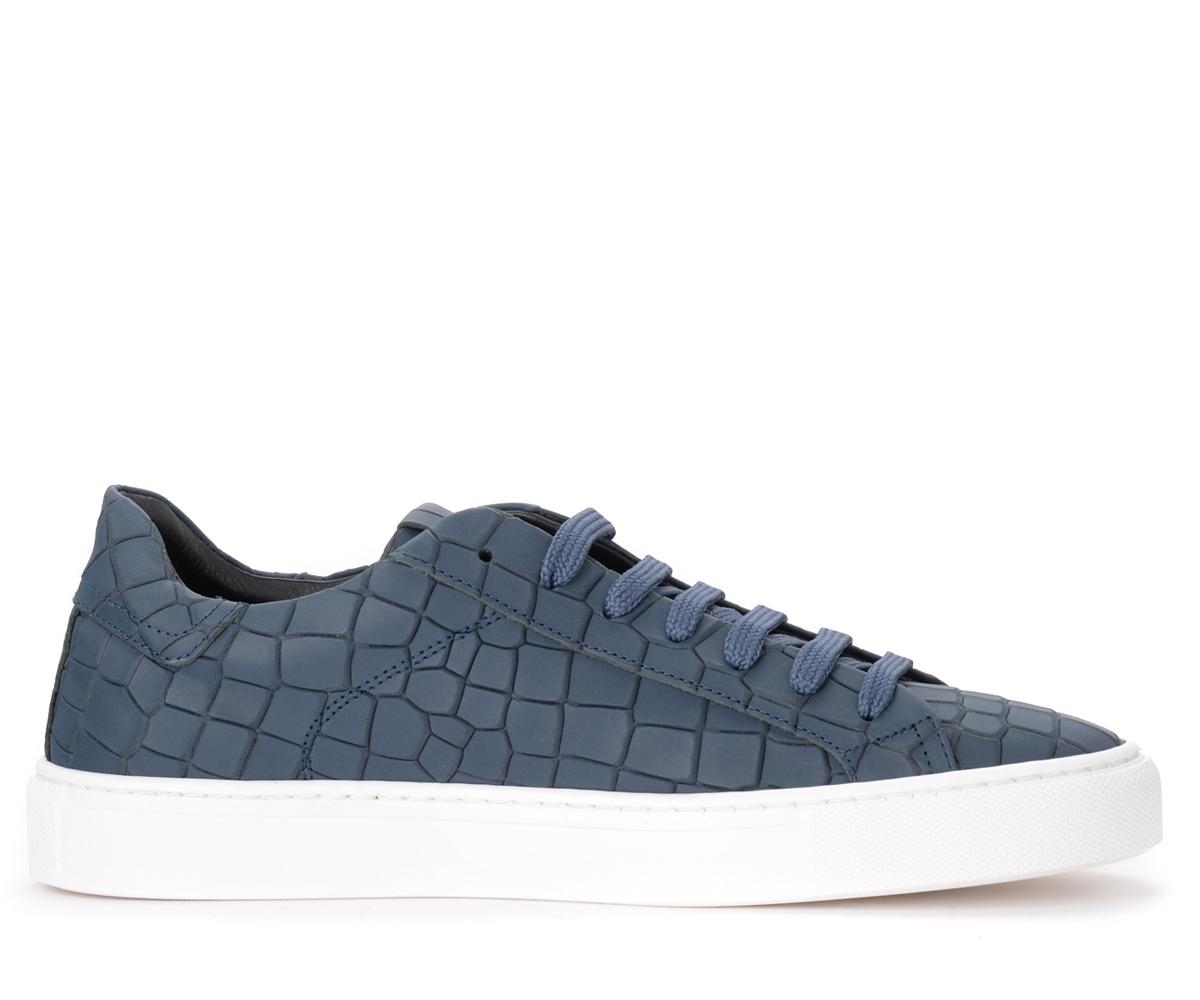 Baskets Croco en cuir bleu - Hide&Jack - Modalova