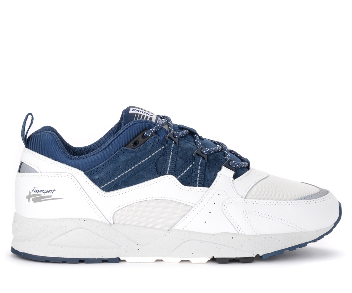 karhu sneaker fusion 2.0 in pelle e suede bianco e blu, blu, uomo