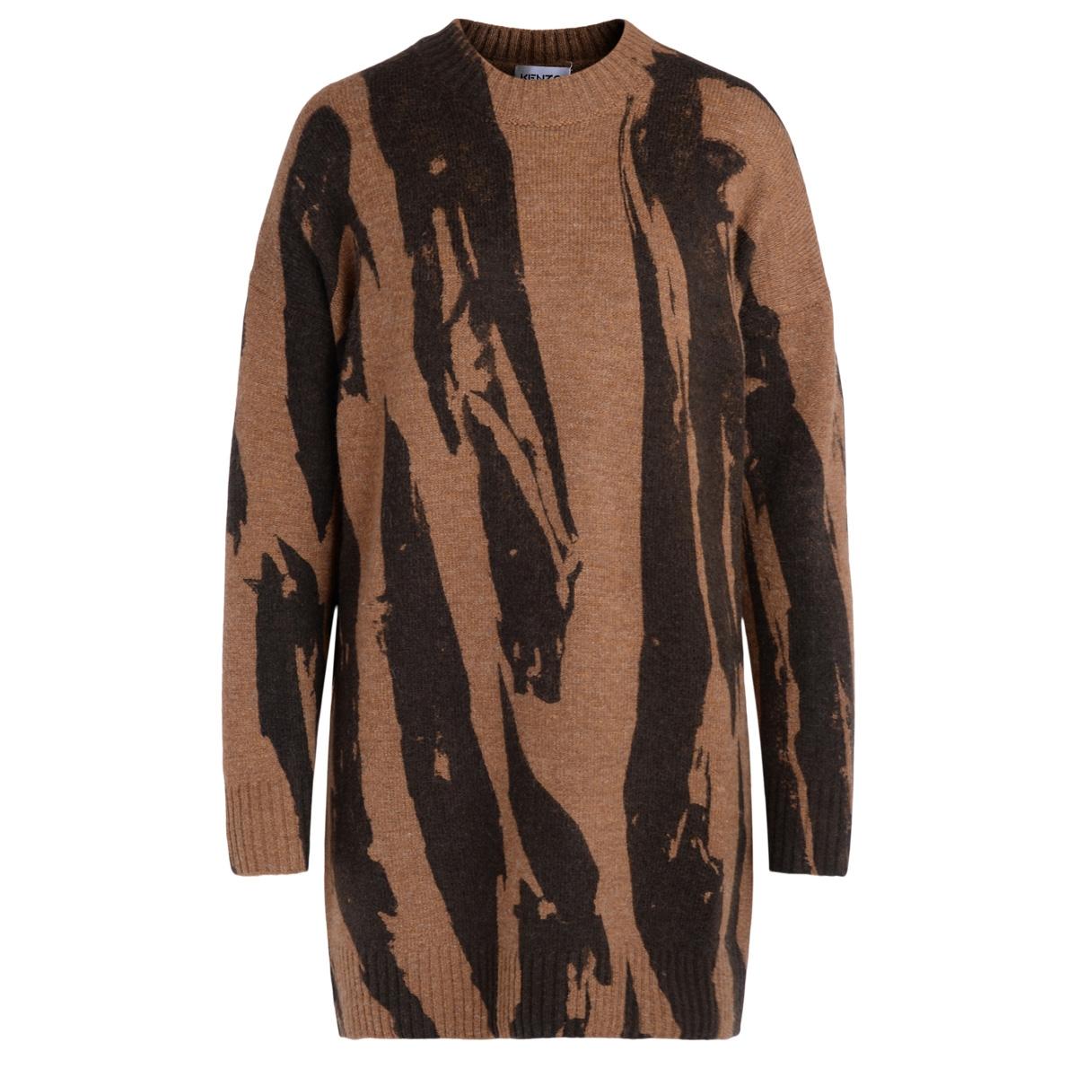 Robe Pleat Camo en laine mélangée couleur taupe - Kenzo - Modalova