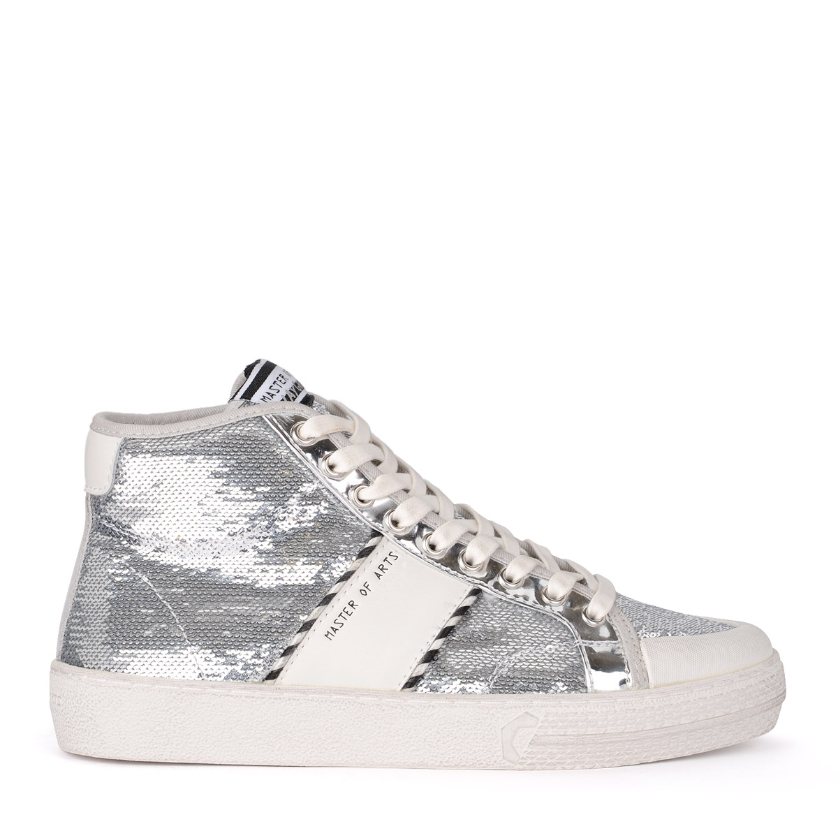 Sneaker high MOA Sequins Silver and White Leather