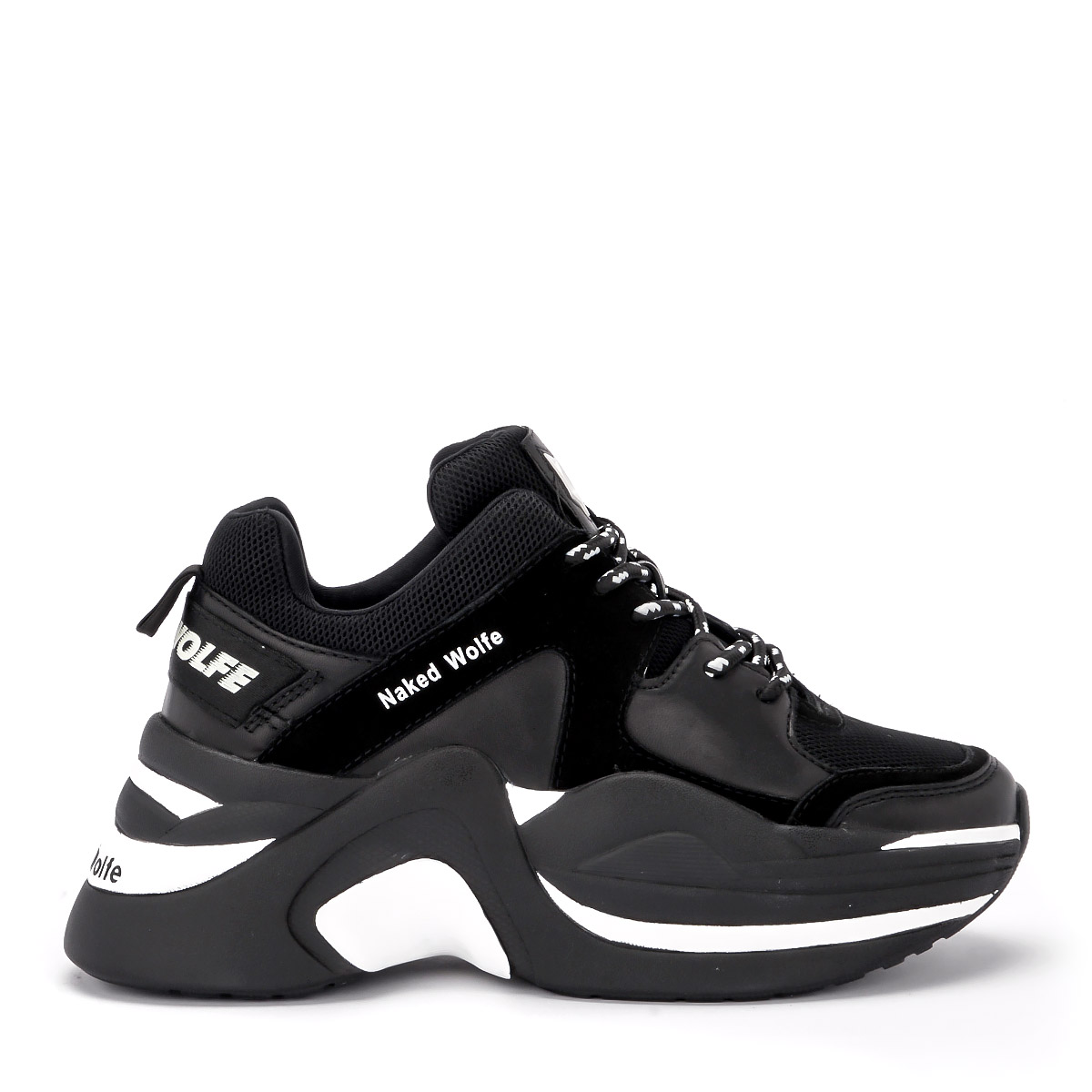 Sneaker Naked Wolfe Track in pelle fucsia e tessuto