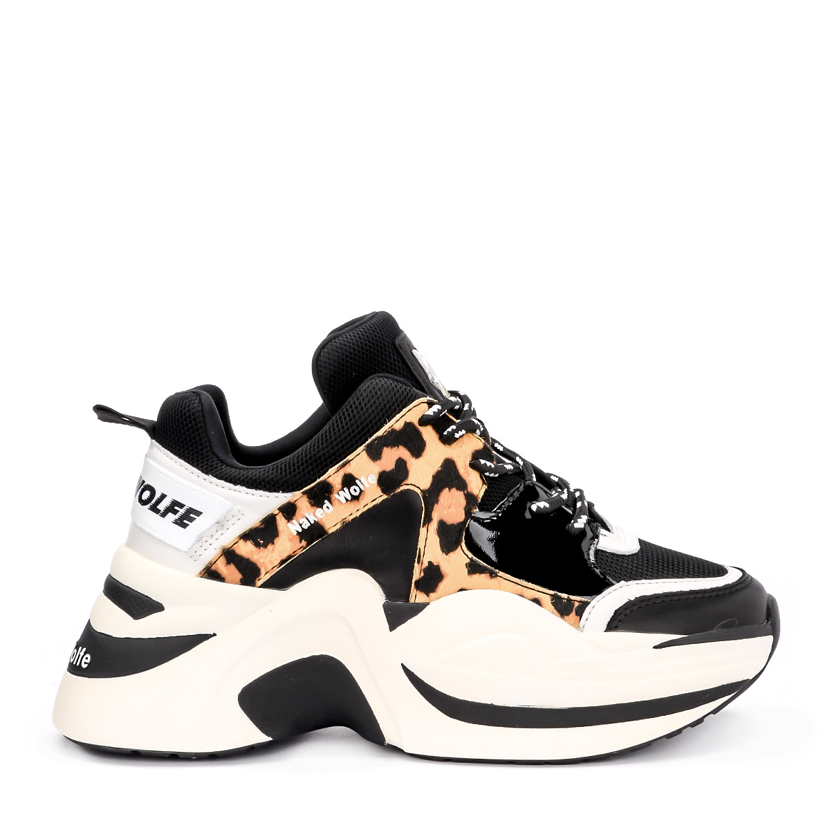 Sneaker Naked Wolfe Track Leather and Pony Leopard