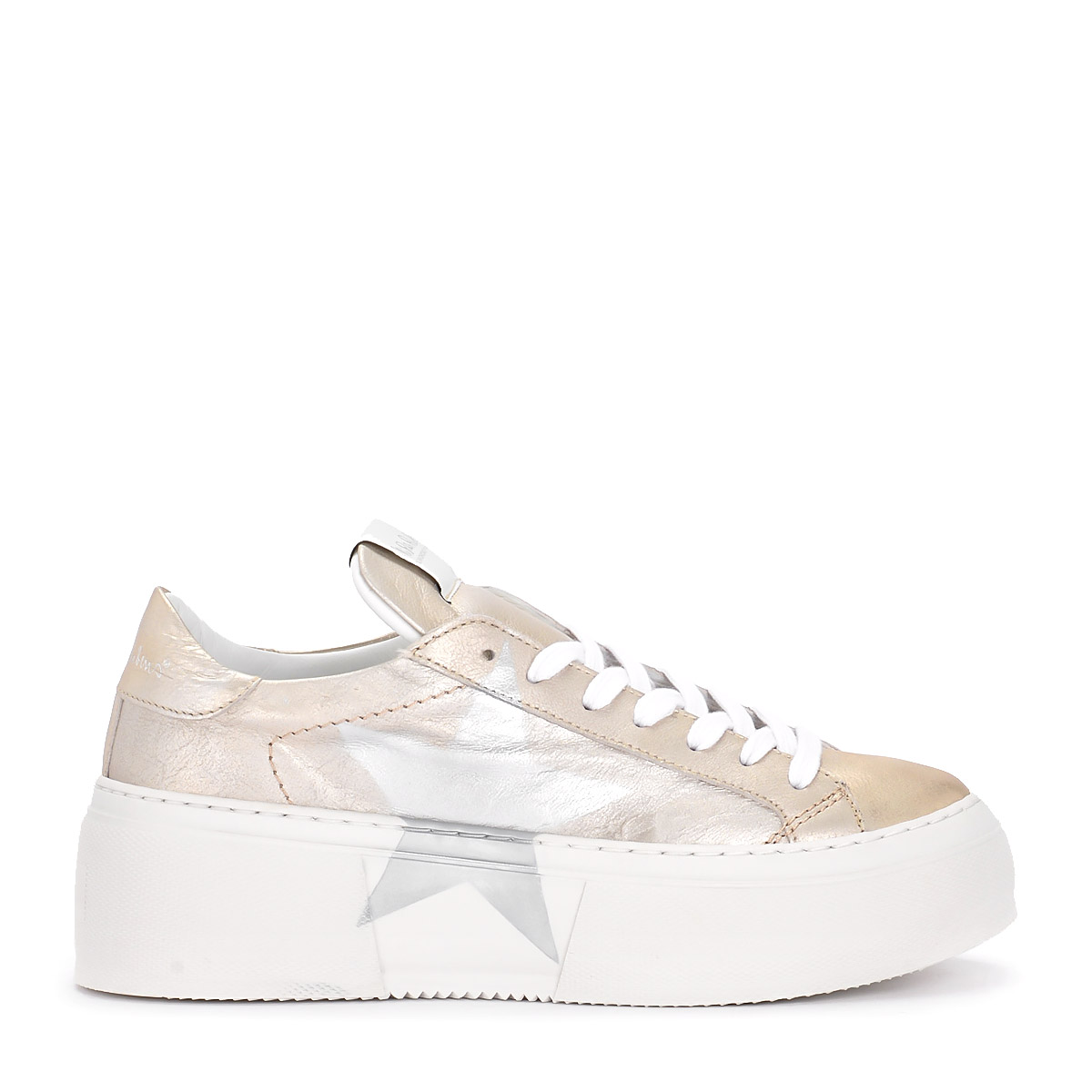 Sneaker Nira Rubens Mimosa Leather Platinum and Silver Star