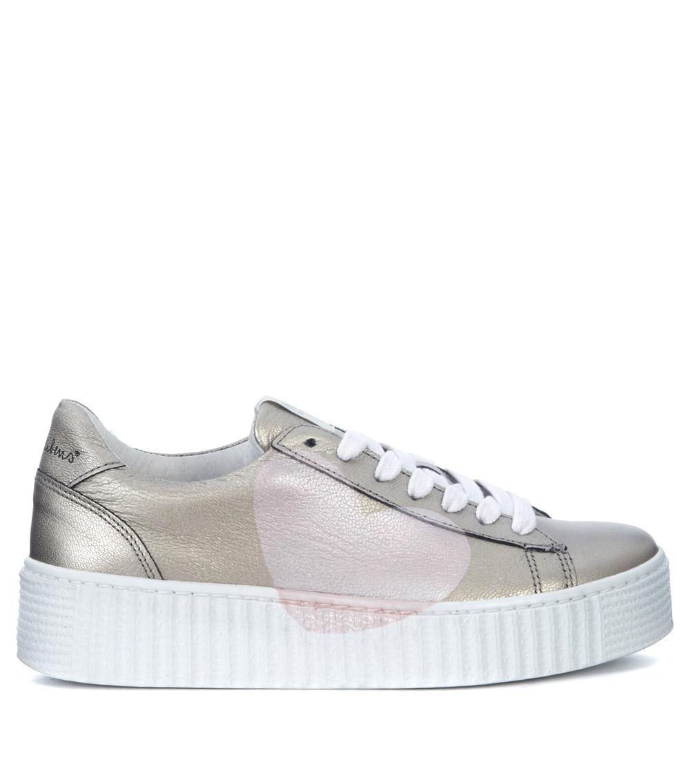 Sneaker Nira Rubens Cosmopolitan Titanium Leather with Heart in Pink quarz