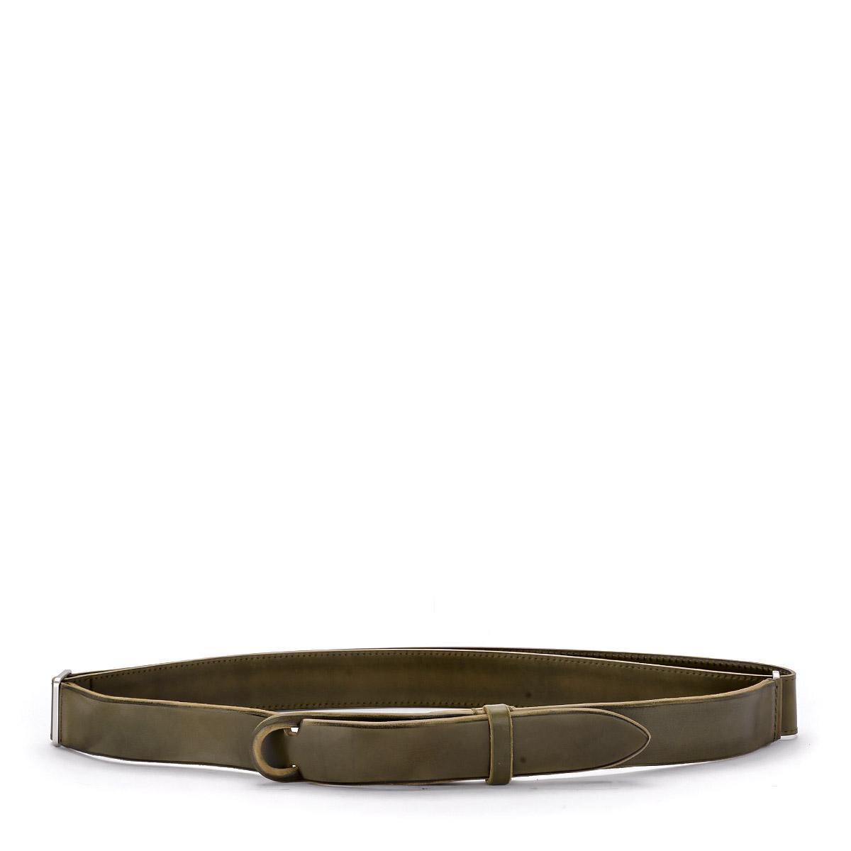 Cintura Orciani No Buckle in pelle lavata verde