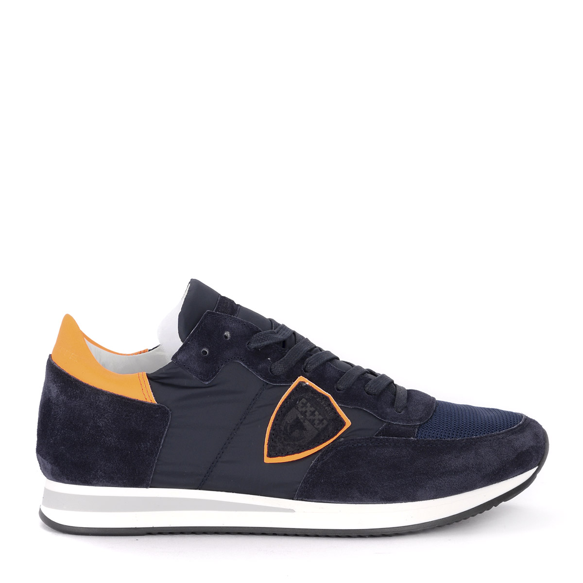 zapatillas Philippe model tropez in Suede and Nylon azul and naranja Neon