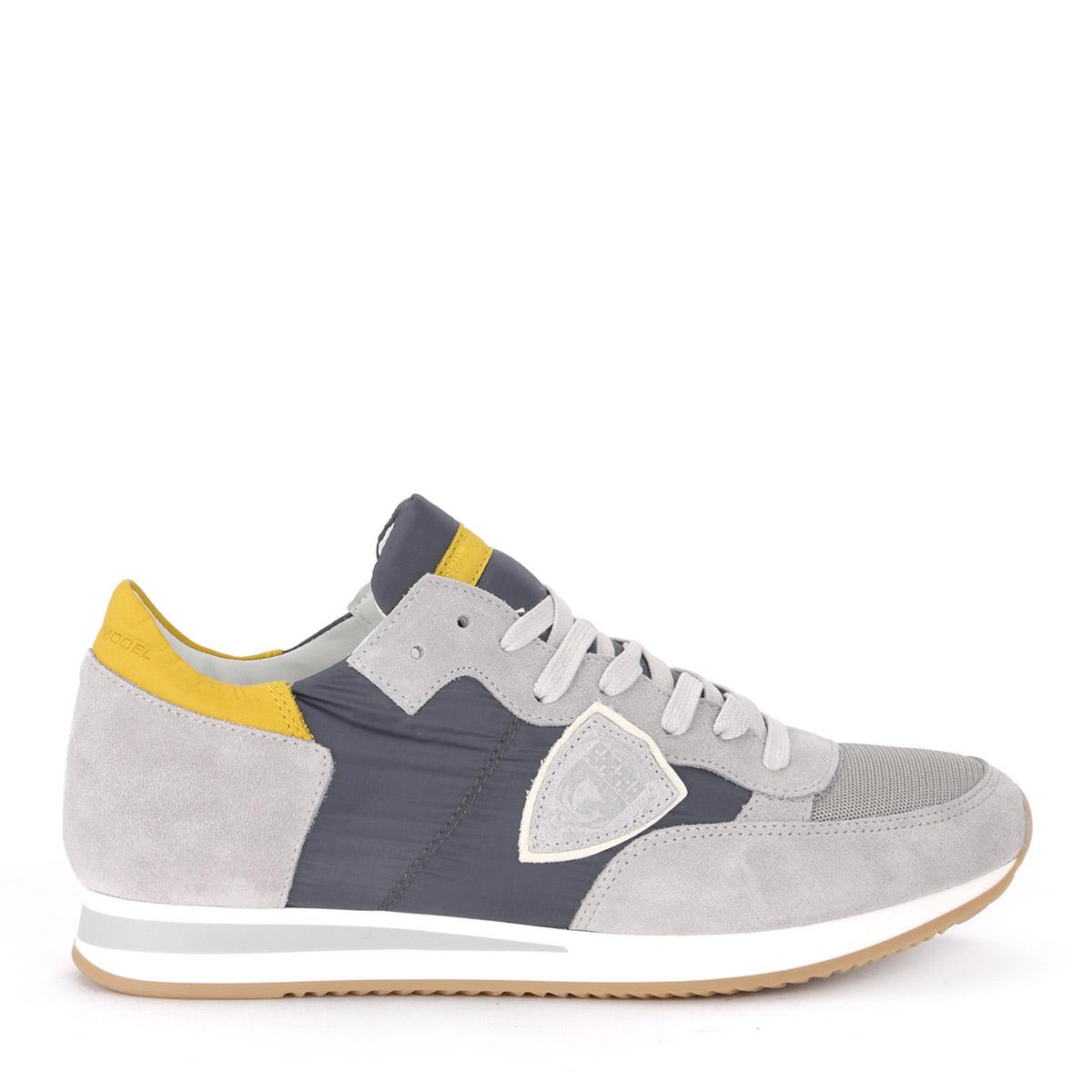 zapatillas Philippe model tropez in Suede and Nylon Dark gris and amarillo or