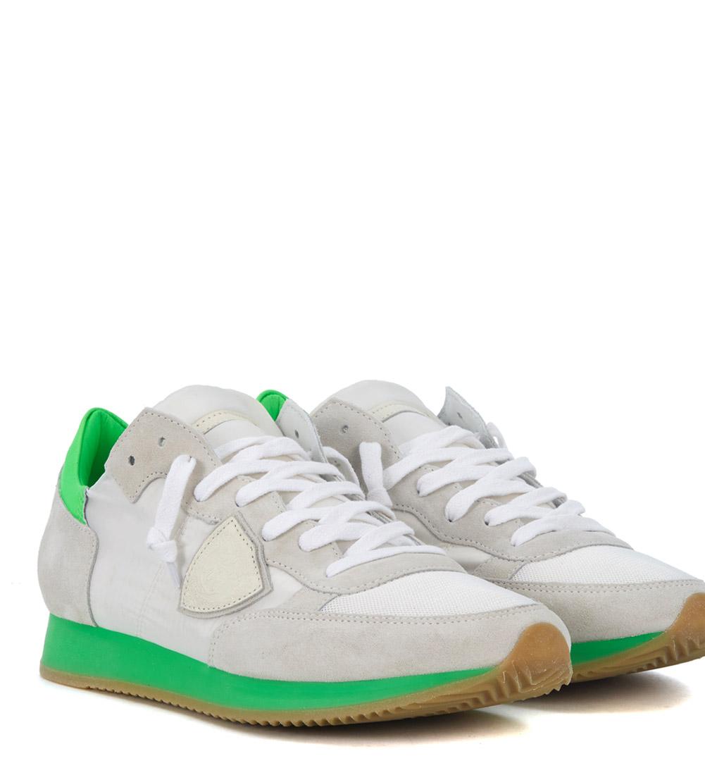 Sneaker Philippe Philippe Philippe Model Tropez bianca e verde fluo 501148