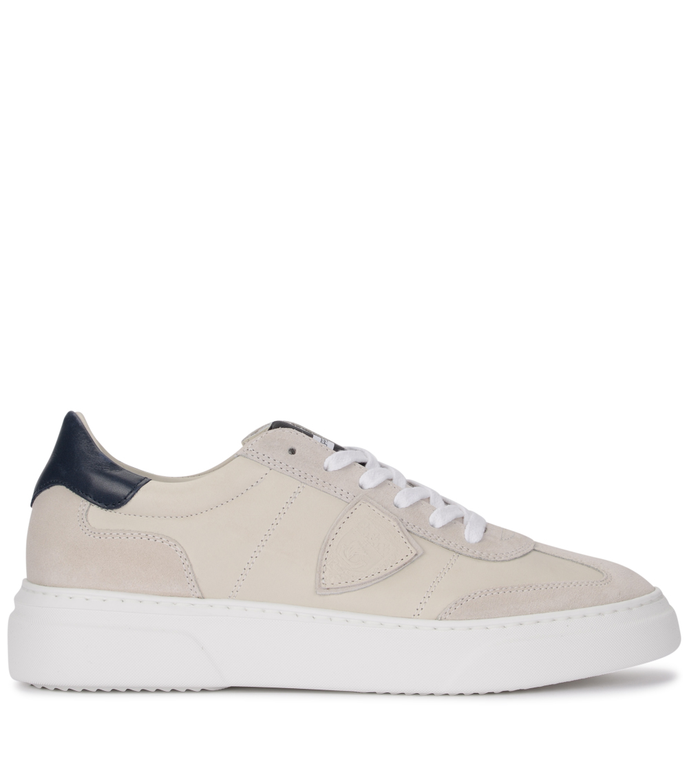 zapatillas Philippe Model Temple Leather and Suede Butter and azul