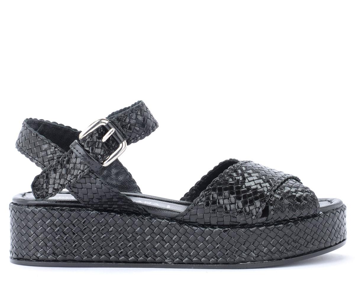 Sandale en cuir tressé noir avec bride à cheville - Pons Quintana - Modalova
