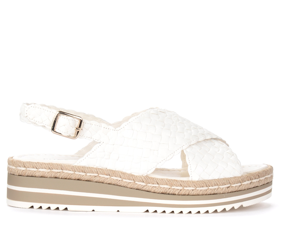 Sandalo in pelle intrecciata bianco latte - Pons Quintana - Modalova