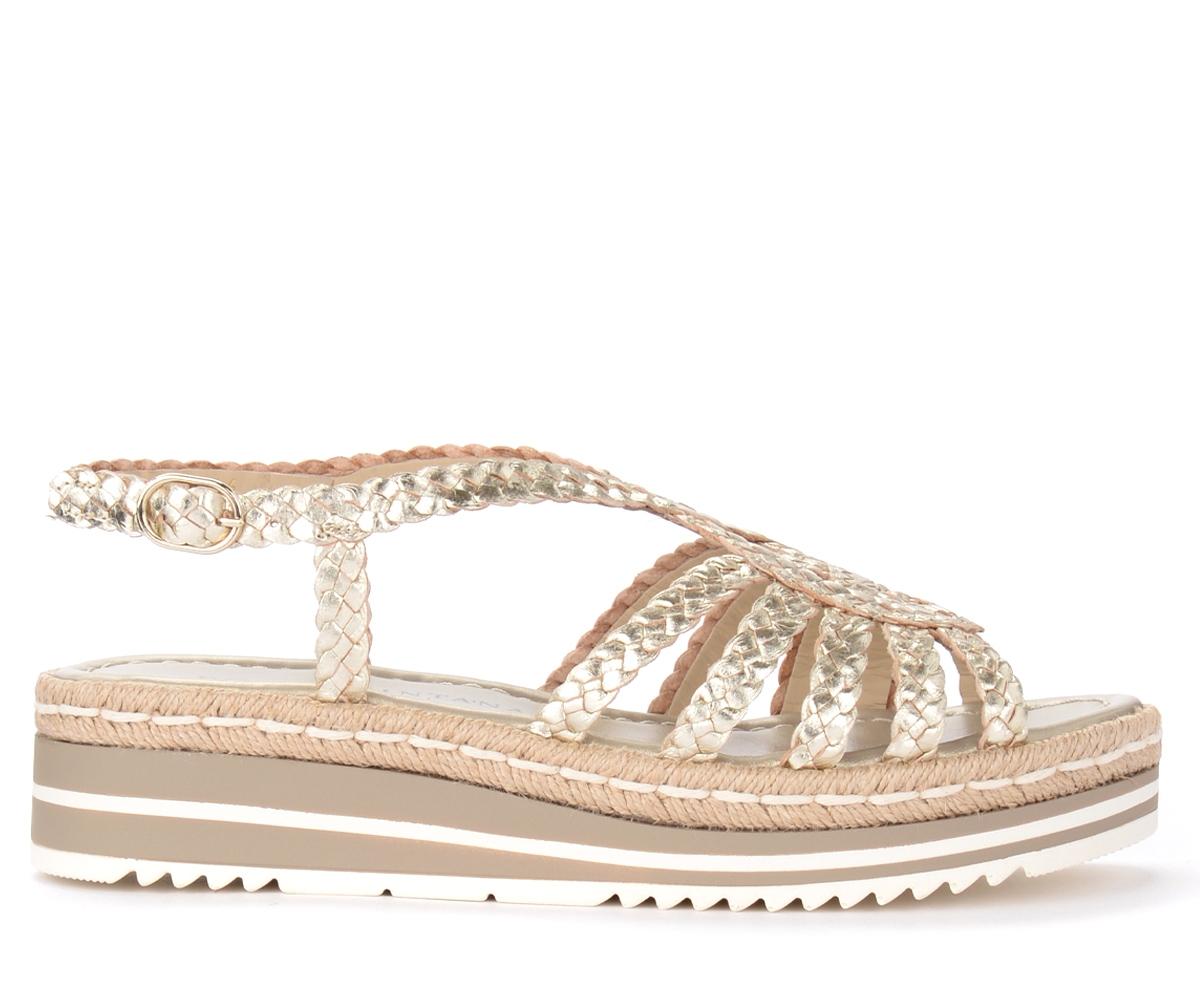 Sandalo in pelle intrecciata color platino - Pons Quintana - Modalova