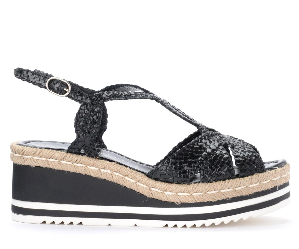 Sandales en cuir noir tissé avec des bandes croisées - Pons Quintana - Modalova