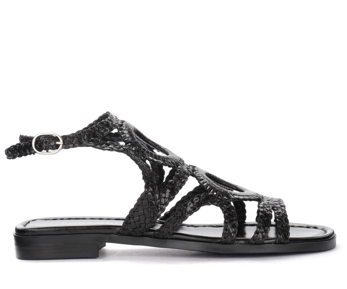 Sandale basse en cuir tressé noir - Pons Quintana - Modalova