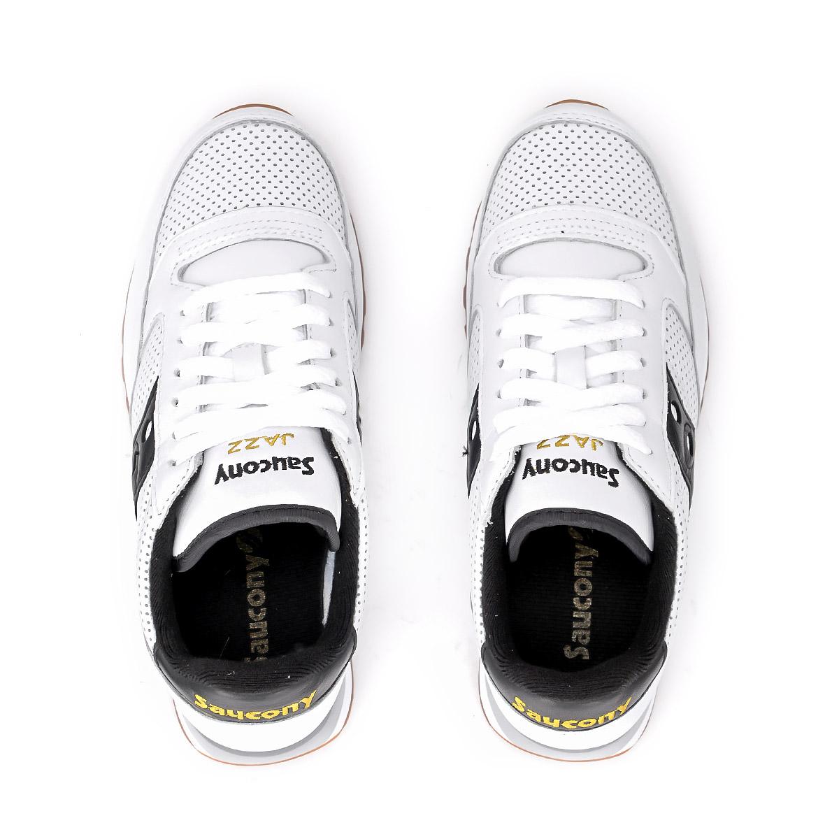 Dettagli su Sneaker Saucony Jazz in pelle bianca traforata con dettagli in pelle n